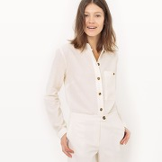 Soldes ! chemise col mao, lin - feminin - blanc - la redoute collections
