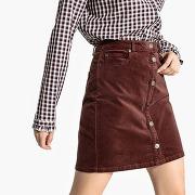 Soldes ! jupe boutonnée en velours - feminin - marron - la redoute collections