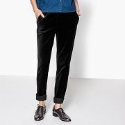 Soldes ! pantalon droit en velours - feminin - noir - la redoute collections