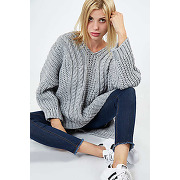 Pull grosse maille gris femme