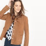 Soldes ! blouson court, 100% cuir - feminin - marron - la redoute collections
