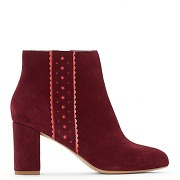 Soldes ! boots cuir - feminin - rouge - mademoiselle r