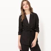 Veste ceinturée coton/lin noir