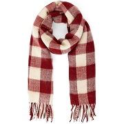 Etole femme carreaux tissés 50% laine, ingle rouge/carreaux