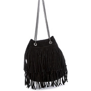 Swan-femme-sac bastille en velours de cuir noir - 24x30x19 cm-t.u