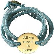Petits trésors bracelet cuir maman indian amazonite grande médaille (plaqué or et cuir)