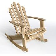 Rocking chair de jardin théodore, style adirondack brut À peindre