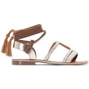 Sandales cuir lien cheville camel/doré