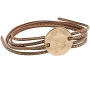 Petits trésors bracelet cordon cuir maman poule (plaqué or)