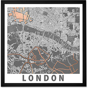 London graphic map, cadre décoratif