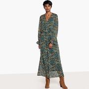 Robe longue imprimée fleurs, effet blousant imprimé fleurs fond vert
