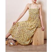 Les petites-femme-robe smoke steppe imprimée jaune-t.s