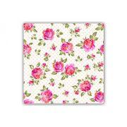Tableau floral liberty roseraie sur pois 50x50cm