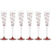 Flûtes à champagne spirale(lot de 6)- rouge, leonardo