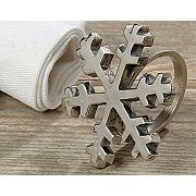 Ronds de serviette flocons et étoiles - lot de 4 - lot de 4 ronds de serviette - coloris flocons