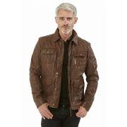 6ab49eb7245a épuisé Verazzano veste en cuir marron clair homme, cocoa