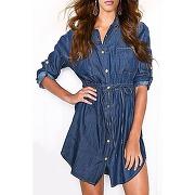 Shirt chemise unie lgant collier manches longues robe couleur denim femmes