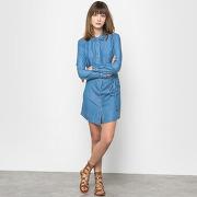 Robe-chemise tencel et dentelle bleu femme - les p'tites bombes