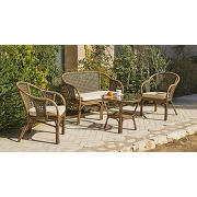 Salon phuket 1 canapé + 2 fauteuils + 1 table bois, verre trempé et rotin naturel hevea