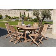 Ensemble table de jardin et 6 chaises en teck santaluz miliboo
