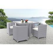 Mobilier de jardin résine tressée table et chaises gris grecques miliboo