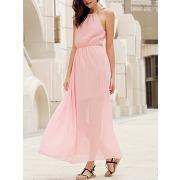 Solide couleur élégant col rond manches sage robe maxi pour les femmes