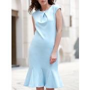 Cap élégant col rond solide couleur robe de sirène pour les femmes
