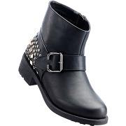 Boots motardes noir avec 4 cm talon carréchaussures & accessoires - bonprix