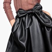 Soldes ! jupe midi, simili cuir - feminin - noir - la redoute collections