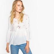 Soldes ! blouse col rond uni, manches longues - feminin - blanc - vero moda