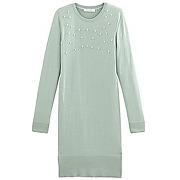 Robe-pull perlee femme turquoise uni colore - promod