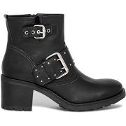 Boots motard noir cuir à talon