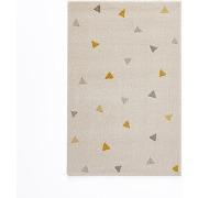 Tapis enfant triangles, grafico ecru/jaune