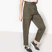 Pantalon denim taille haute kaki