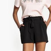 Short fluide, taille élastiquée avec lien noir-noir-34-femme > vêtements > short