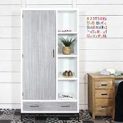 Armoire mdf bois blanchi et blanc style contemporain - en soldes