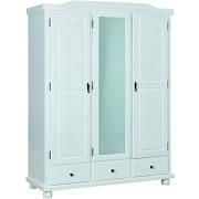 Armoire rustique 3 portes 3 tiroirs vernis blanc en bois massif