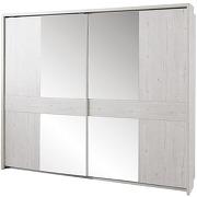 Armoire contemporaine coloris chêne clair avec 2 portes coulissantes et miroir