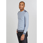 Pull col rond empiècement micro-jacquard-bleu chiné-l,m,xl,xxl-pulls, gilets, sweats