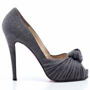 Escarpins open toe flanelle grise