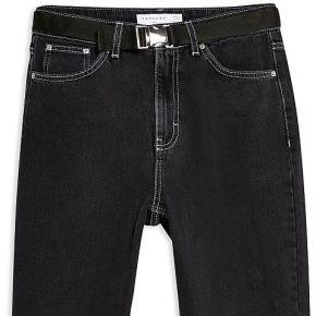 Wash black seatbelt mom jeans pantalon en jean...