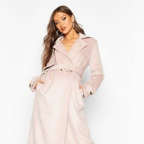 Trench look laine aspect brossé - nude/coquille...