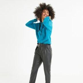Pantalon effet cuir femme noir - promod