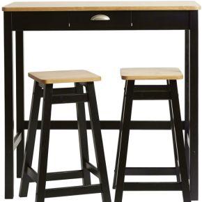 Table haute + 2 tabourets noir/bois - izat - l...