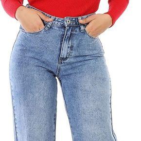 Jeans coupe large et fente bleu clair