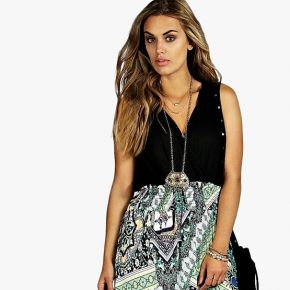 Plus robe maxi contrastée imprimé paisley -...