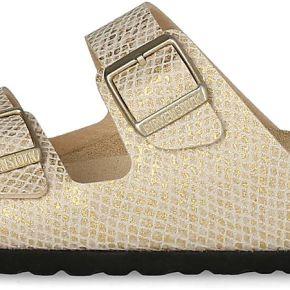 Sandales birkenstock arizona femme beige et or