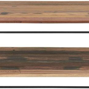 Table basse carrée fer/bois 2 plateaux -...