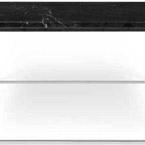 Table basse carrée métal chromé/marbre noir -...