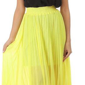 Jupe longue plissée jaune fluo
